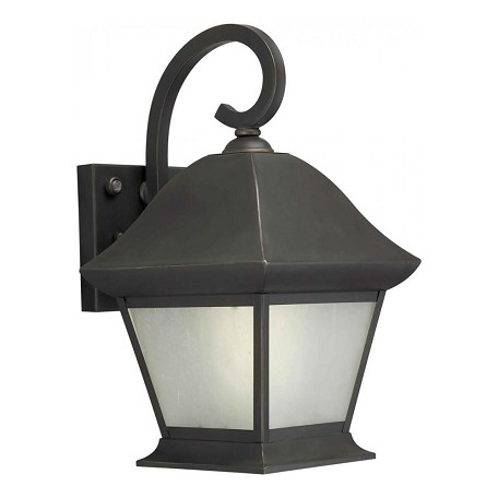 Forte One Light Royal Bronze Frosted Seeded  Panels Glass Wall Lantern