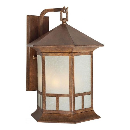 Forte Three Light Rustic Sienna Umber Linen  Panels Glass Wall Lantern
