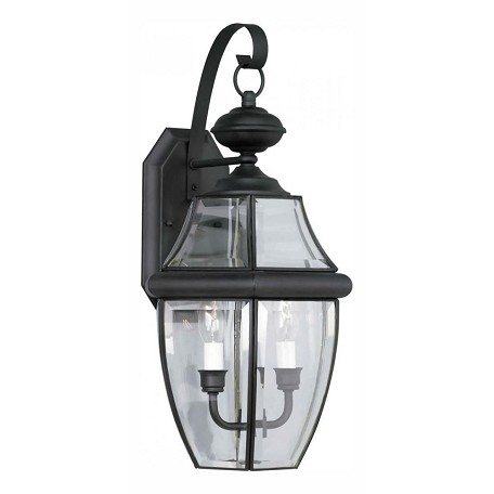 Forte Two Light Black Clear Beveled  Panels Glass Wall Lantern