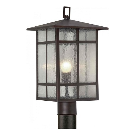 Forte One Light Antique Bronze Clear Seeded  Panels Glass Post Light