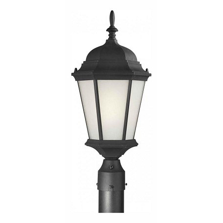 Forte One Light Black Frosted Seeded  Panels Glass Post Light
