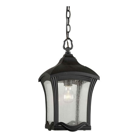 Forte One Light Black Clear Seeded  Panels Glass Outdoor Pendant