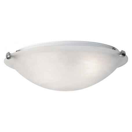Forte One Light Brushed Nickel Marble Glass Bowl Flush Mount