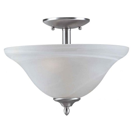 Forte Two Light Brushed Nickel Marble Glass Bowl Semi-Flush Mount