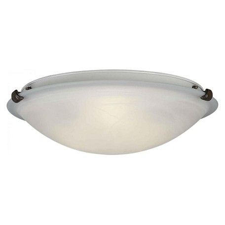 Forte Three Light Rustic Sienna Marble Glass Bowl Flush Mount