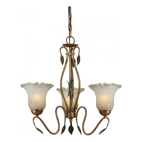 Forte Three Light Rustic Sienna Umber Ice Glass Up Chandelier