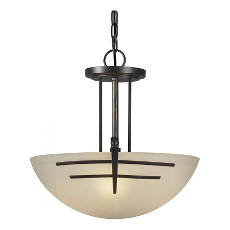 Forte Three Light Antique Bronze Umber Linen Glass Up Pendant