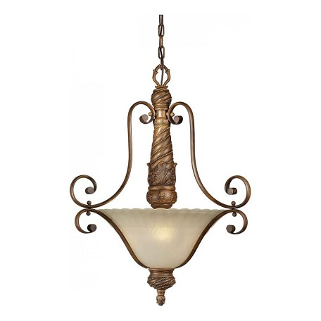 Forte Three Light Rustic Sienna Patterned Umber Mist Glass Up Pendant