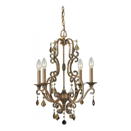 Forte Four Light Rustic Sienna Up Chandelier