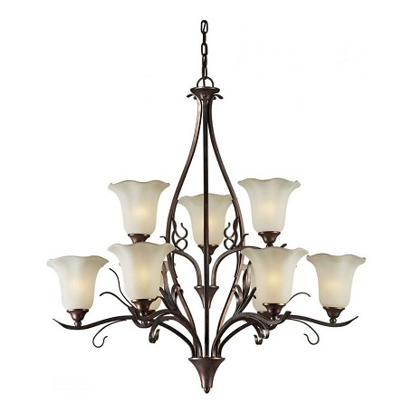 Forte Nine Light Black Cherry Shaded Umber Glass Up Chandelier