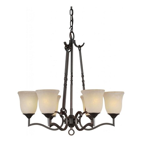 Forte Six Light Bordeaux Tapioca Glass Up Chandelier
