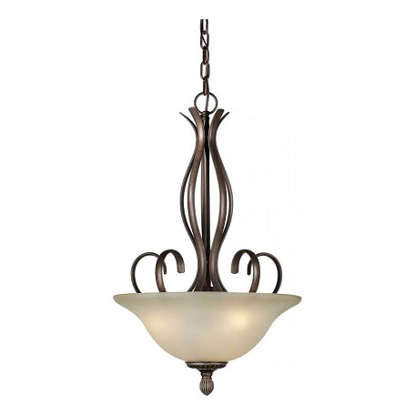Forte Three Light Black Cherry Shaded Umber Glass Up Pendant