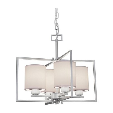 Forte Four Light Brushed Nickel White Color Fabric Shade Drum Shade Chandelier