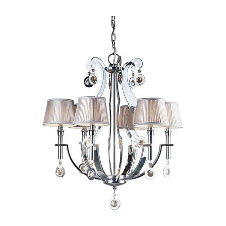 Forte Six Light Chrome Fabric Shade Up Chandelier
