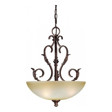 Forte Three Light Black Cherry Umber Mist Glass Up Pendant