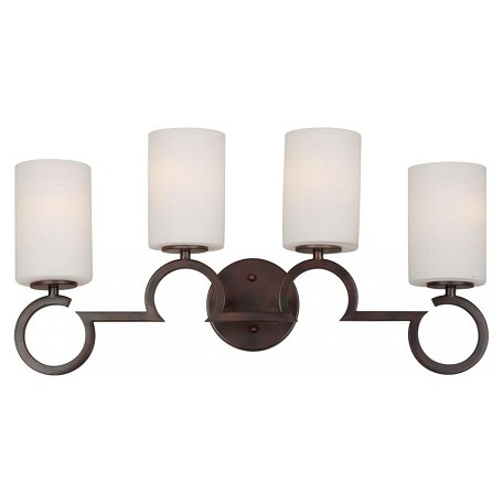 Forte Four Light Antique Bronze Satin Opal Glass Vanity