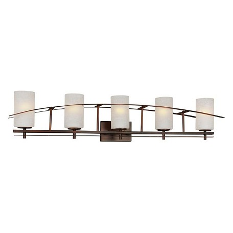 Forte Five Light Antique Bronze White Linen Glass Vanity