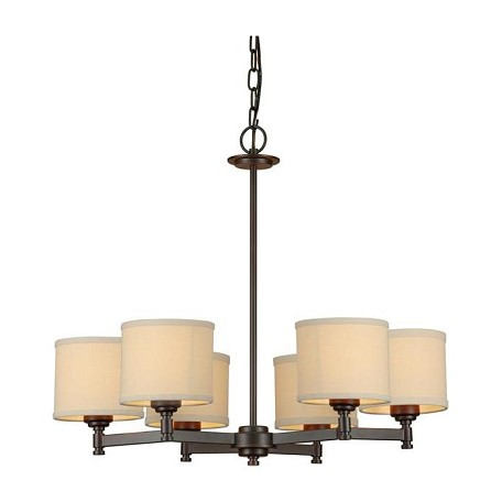 Forte Six Light Antique Bronze Creamcolored Fabric Shade Drum Shade Chandelier