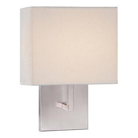 Brushed Nickel Wall Sconce With Fabric Shade : Minka George Kovacs Brushed Nickel LED ADA Wall Sconce with White Fabric Shade Brushed Nickel ...