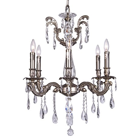 Classique 6 Light Crystal Chandelier Light Fixture in Pewter Finish with Clear Swarovski Spectra Tear Drop Crystals - Joshua Marshal 700116-015