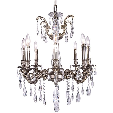 Classique 8 Light Crystal Chandelier Light Fixture in Pewter Finish with Clear European Tear Drop Crystals - Joshua Marshal 700117-013