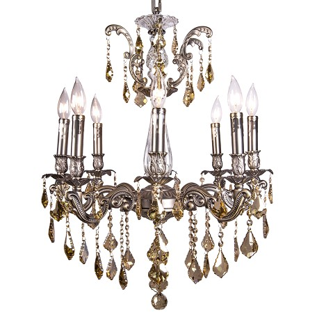 Classique 8 Light Crystal Chandelier Light Fixture in Pewter Finish with Golden Teak French Cut Crystals - Joshua Marshal 700117-012