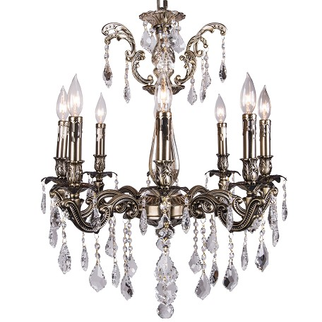 Classique 8 Light Crystal Chandelier Light Fixture in Sierra Bronze  Finish with Clear Swarovski Crystal Jewels and European French Cut Crystals - Joshua Marshal 700117-002