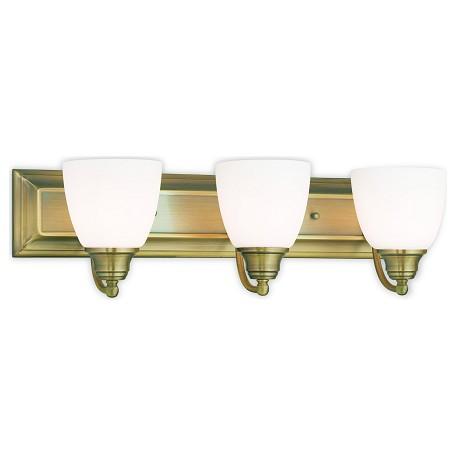 livex lighting antique brass springfield 3 light bathroom vanity light yellow 10503 01 from. Black Bedroom Furniture Sets. Home Design Ideas