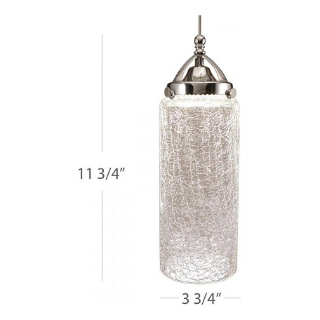 WAC US Madison Led Monopoint Pendant - Clear Crackled Shade With Brushed Nickel Socket