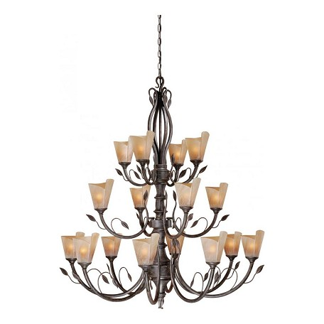 Vaxcel International Capri 16L Chandelier W/ Excavation Glass