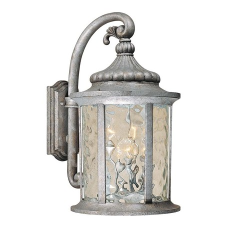 Vaxcel International Bathesda 15 1/2 In. Outdoor Wall Light Gilded Silver