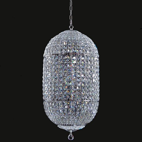 "Chrome 12-Light 16"" Chandelier with Steel Shade and Clear Crystal SKU# 14765"