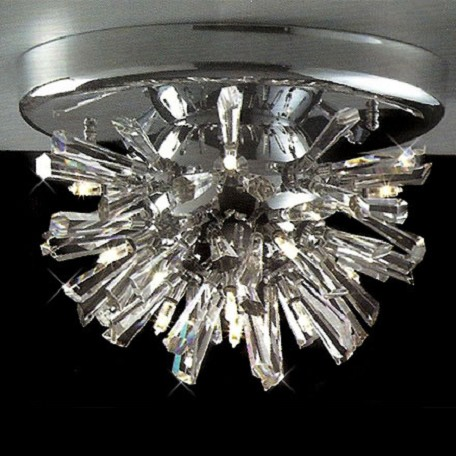 "Stellate Design 12-Light 10"" Chrome Flush Mount with Clear Crystal SKU# 10922"