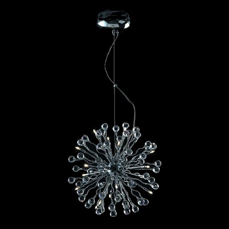 "Lunasphere Design 20-Light Chrome 17"" Hanging Pendant with Clear Crystals SKU# 10791"