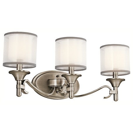 "Kichler Kichler 45283Ap Antique Pewter Lacey 22"" Wide 3-Bulb Bathroom Lighting Fixture"