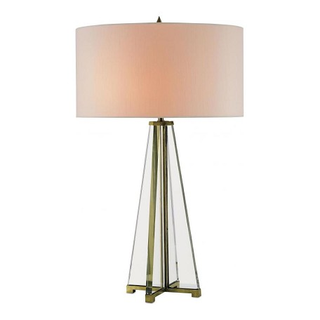Currey Brass / Clear Optic Crystal Lamont 2 Light Table Lamp