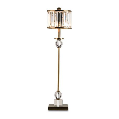 Currey Crystal Antique Brass Parfait Table Lamp With