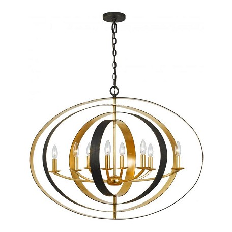 Crystorama English Bronze / Antique Gold Luna 8 Light 36in. Wide Wrought Iron Chandelier