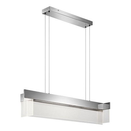 Elan Chrome Geo Large LED Linear Chandelier