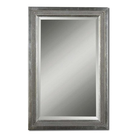 Uttermost B Silver Leaf Triple Beaded Vanity Beveled Mirror