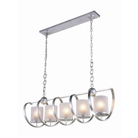 Urban Classic Europa Collection Pendant Lamp L:48In. W:13In. H:16In. Lt:5 Vintage Silver