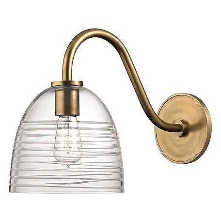 Hudson Valley Aged Brass Remsen 1 Light Gooseneck Wall ... on Aged Brass Wall Sconce id=21397