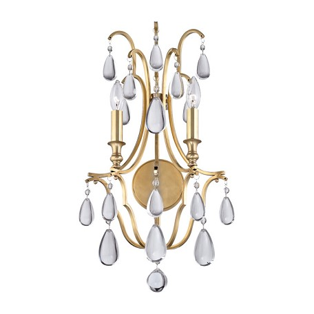Wall Sconces With Crystal Accents : Hudson Valley Aged Brass Crawford 2 Light Wall Sconce With Crystal Accents Aged Brass 9302-AGB ...