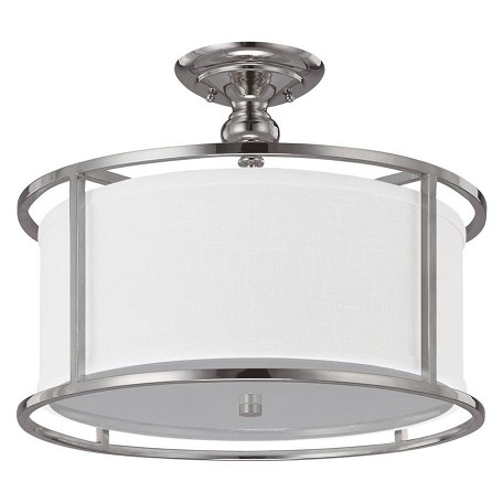 Capital Three Light Polished Nickel Drum Shade Semi Flush