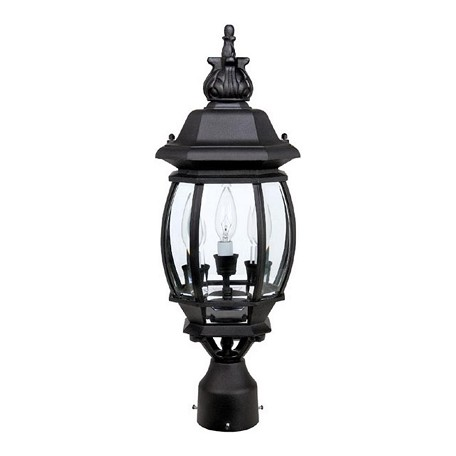 Capital black french country 3 light outdoor lantern post for French country outdoor lighting