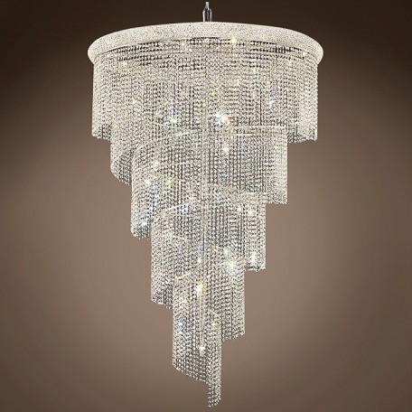 "JM Spiral Design 29 Light 48"" Chandelier"