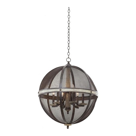 Kalco Coronado 6 Light Oval Chandelier
