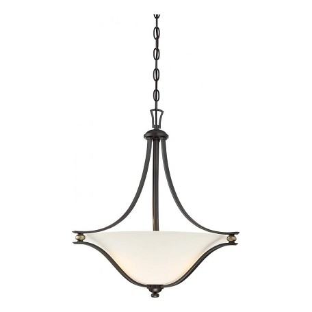 Minka-Lavery 3 Light Pendant In Castle Bronze With Aged Silver And Etched White Glass