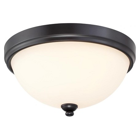 Minka-Lavery 3 Light Flush Mount In Castle Bronze With Aged Silver And Etched White Glass