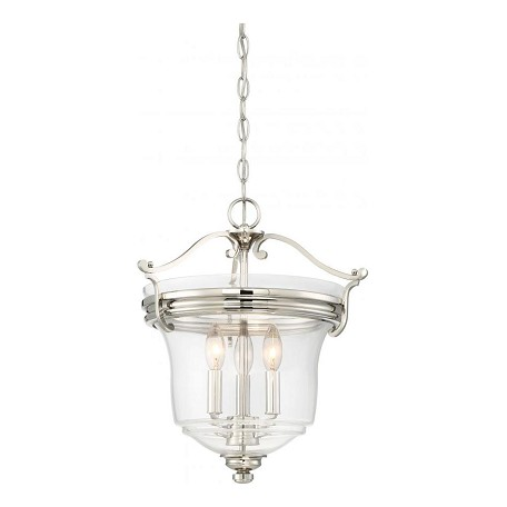 Minka-Lavery 3 Light Foyer/Semi Flush Convertible Fixture In Polished Nickel W/Clear Glass